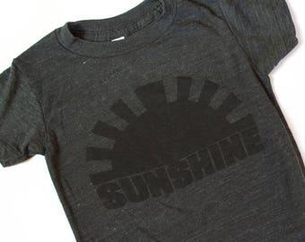 SUNSHINE, clothing, tops, kids, boys, girls, t-shirt, tee, graphic top, sunshine, black and gray, monochromatic, modern kids, toddler, gray