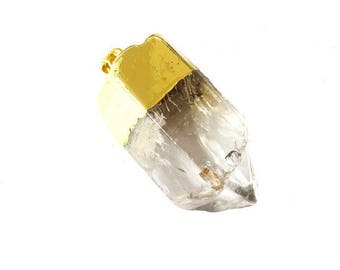 Pendant stone natural Quartz 40 mm, set in gold