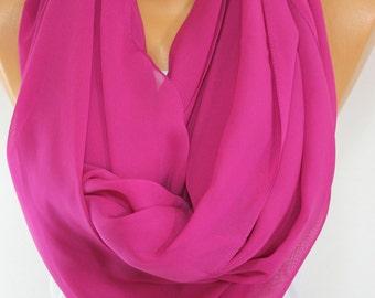 Silk Chiffon Scarf So Soft Lightweight Scarf Fuchsia Scarf Spring Scarf, Summer Scarf, Mother's Day Gift For Her For Mom-ESCHERPE