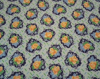 FQ Vintage FEEDSACK fabric - 18x22 - BLUE green yellow gold