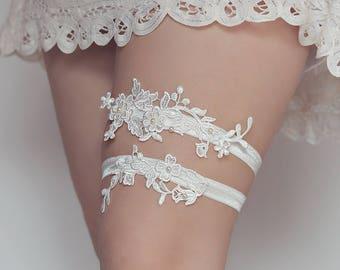 Jarretière de mariée - Jarretière en dentelle blanche - W2 - Jarretière en dentelle - jarretelle - jarretière de mariée - jarretière ensemble