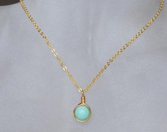 Mint Necklace , Bridesmaid Necklace , Mint Gold Necklace , Simple Mint Necklace
