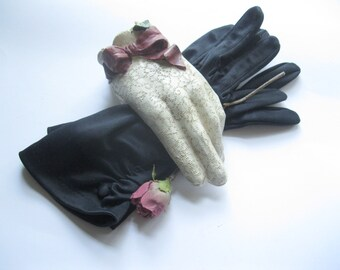 Black robe gants à doigts, gants noir, taille 7, doigt, une Occasion spéciale, nuptiale, l'obtention du diplôme, de mailordervintage sur etsy
