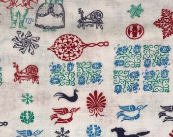 "38""Wx23""L Red Navy Blue Green Dutch PA Novelty Floral Feedsack Flour Sack Cotton Quilt Fabric"