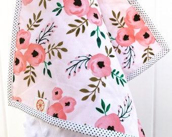 Pink poppies minky baby blanket