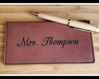 Checkbook Cover, Personalized Vegan Leather, Faux, Custom Checkbook Wallet, Check Book Pocket Book, Check Book Cover, Gift For Her, Him