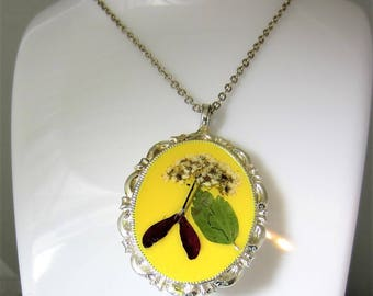 Naturally Yellow, Pressed Flower Pendant and Brooch,, Real Flower Jewelry,  Resin (2079)