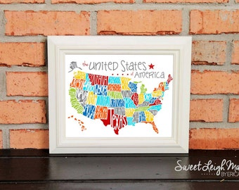 DIGITAL FILE - US Map - United States of America – Playroom Art – Geography – Maps – Primary Colors – Fun Map – States – State Names