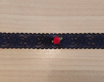 Black Lace Choker With Red Satin Rose