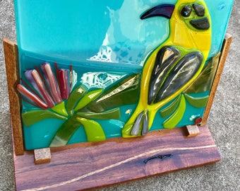 Hawaiian Honey Creeper with Hawaiian Koa & Mango Wood Easel by Shelly Batha