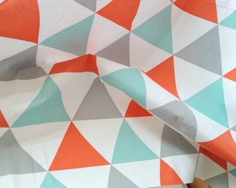 Big Colorful Triangles Cotton Fabric - Mix of Grey Orange and Mint - By the Yard 43265