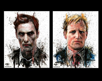 "Prints 8x10"" - Man Is The Cruelest Animal - True Detective - Rust Cohle Marty Hart Matthew McConaughey Woody Harrelson Dark Art Horror Pop"