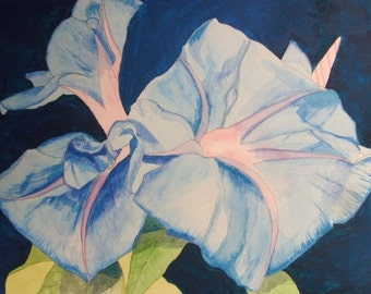 Original framed watercolour painting of blue morning glory flowers