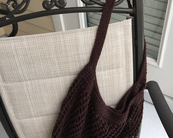Hand knitted, Coffee color market bag