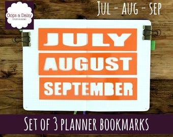 Planner stencil month bookmark x 3 - July - August - September - reusable - bullet journal - scrapbooking - planner