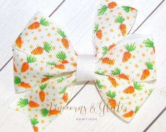 Easter Hair Bow, Carrots Hair Bow, Pigtails Hair Bow, Easter Gift for Girls, Easter Outfit, Carrots Outfit, Hair Bow for Girls