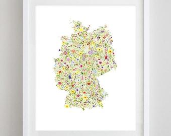 Germany Floral Watercolor Art Print