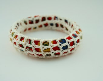 Bangle -  Bright Patterned Fabric and Off-white Crochet