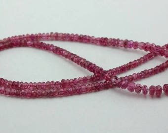 "16"" Strand Natural Pink Spinel faceted rondelle gemstone loose beads 2.5-4.5mm"