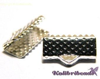 10x Ribbon Crimp Ends 13 mm - Silver coloured - Crimp Terminals for Flat Cord or Macrame
