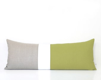 Linden Green Pillows, Colorblock Pillow Cover, Lumbar Pillow, Bedding, Decorative Pillows by JillianReneDecor, Extra Long, Bolster, 14x35