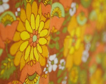 Vintage Mid Century Linen Tablecloth - Yellow Orange White Green and Brown Flower Power Design