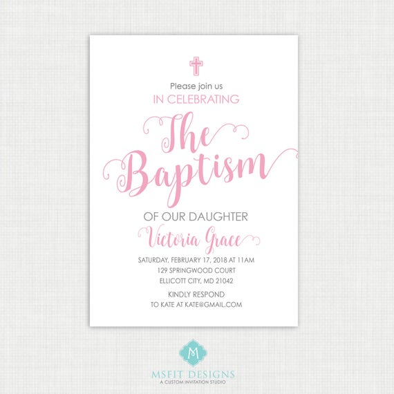 Printable Communion Invitation- Watercolor - Girl Baptism Invitation - Baby Dedication, First Communion, Confirmation, Christening