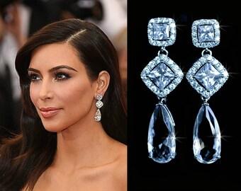 Dramatic Celebrity Inspired Luxe Cubic Zirconia CZ Triple Drop Dangle Bridal Earrings, Bridal, Wedding (Sparkle-2146)
