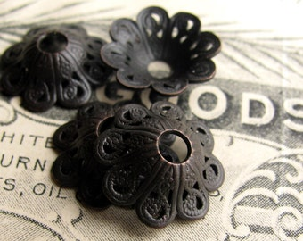 Sun Hat bead caps, antiqued brass, 13mm, fluted bell shape, scalloped (4 bead caps) black patina, lead nickel free, made in USA  BC-G-004