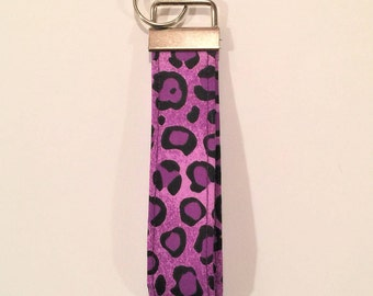Purple short lanyard, Purple Key wristlet, Purple Key fob, Fabric keychain, Cheetah key wristlet, gift for her, gift under 10