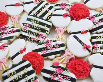 Kate Spade Baby Shower Sugar Cookies - Girl - cute - sweet - onesie - flowers - baby rattle - party favors - it's a girl - fashionista