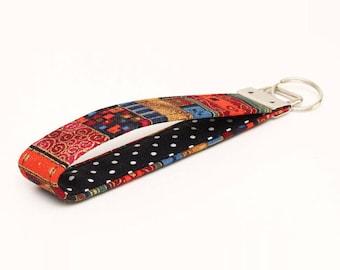 Hippie Key Fob, Fabric Keychain Wristlet, Red Fabric Key Holder, Key Lanyard, Handmade Keyfob - red gold boho stripes black dots