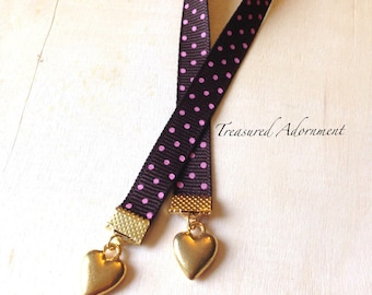 Bookmark, Heart Bookmark, Polka Dot Bookmark, Brown and Pink Ribbon, Gift for Book lover, Bookworm, Thank you gift, Valentine's Day gift