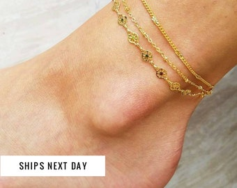 Gold Anklet Bracelet, Anklets for Women, Layered Anklet, Rose Gold Anklets, Satellite Anklet