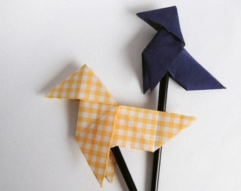 Fabric origami hair stick – yellow Vichy - Dark blue