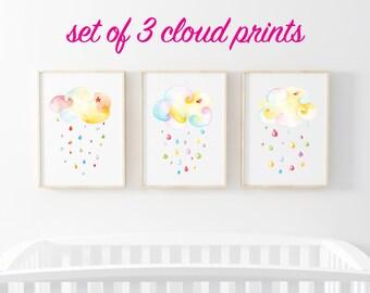 Rain Cloud Baby Art - Set of 3 Prints - Nursery Rain Cloud Print - Cloud Children's Art - Nursery Print Set