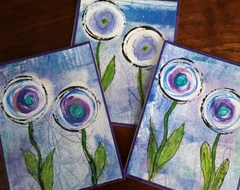 Mixed Media Flower Note Cards; Set of Three; Blue Painted Flowers; Blank Note Cards