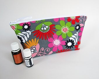 Essential Oil Bag - Cosmo Meadow Floral with Solid Rose Mist, Travel Bag Essential Oil Case Oil Pouch EO Travel Bag