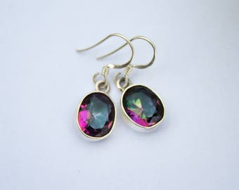 Handmade Sterling Silver Mystic Topaz Earrings, Topaz Jewelry, Gift for her, Healing crystals