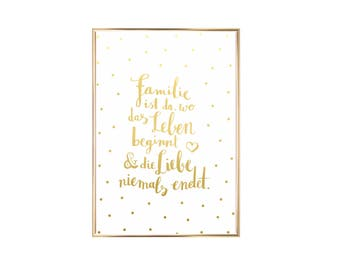 Artprint family is where life begins gold embossing