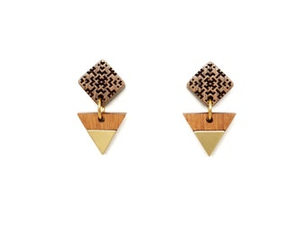 Square gold drop earrings Gold earrings, Natural wood jewelry, Post earrings for women, Square earrings, Wooden earrings, Tribal earrings