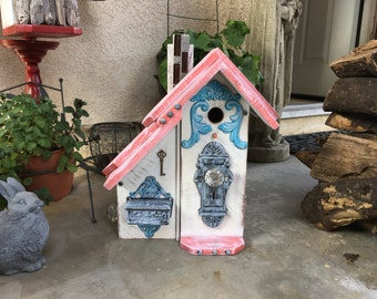 Bird house Functional Birdhouse Two Room Condo Wooden OutdoorBird House Post Mount Birdhouses Coral & White Item #504061319