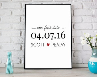 Our First Date, Anniversary Date with Couples Names, Special Date Keepsake, Wedding Gift, Personalized Gift For Couples - (D161)