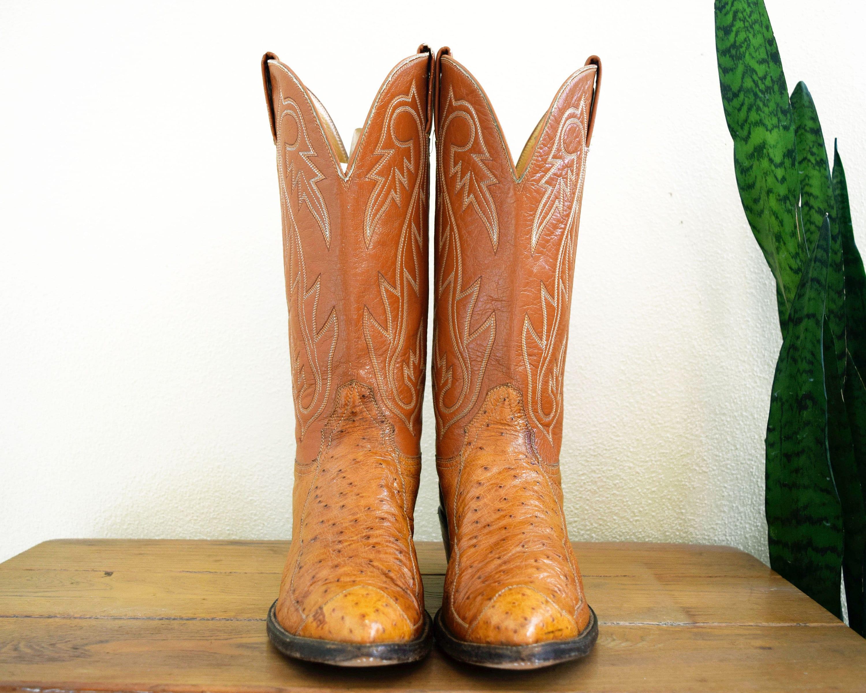 des années 70 D 9 Hondo autruche bottes El Paso Texas autruche Hondo marron ocre en cuir Vintage bottes de Cowboy Western pour homme fabriqué au Mexique 67ef71