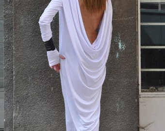 Bare Back Dress , Plus size Oversize White Loose Casual Dress  , White Maxi dress by EUGfashion - DR0316TR