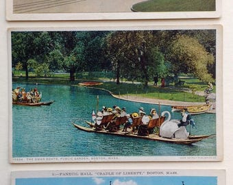 Boston postcards, Faneuil Hall, Swan boats, Public Garden, Copley Plaza, vintage postcards Boston, Boston post card, Boston ephemera,