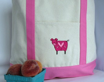 Farmers Market Tote Bag - Reusable Shopping Bag - Pig Canvas Tote
