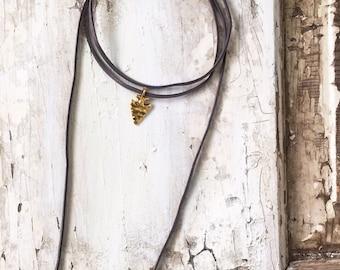 Gold Arrowhead Dark Gray Leather Wrap Choker Necklace