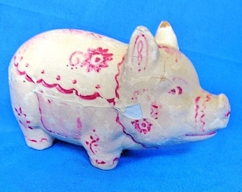 1930s Composition Piggy Bank Pig Made in U.S.A