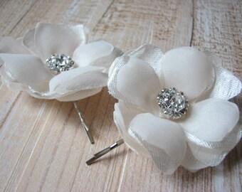 Champagne hair pins 2 Cream hair flower Set of 2 champagne hair piece Champagne wedding Champagne hair pins Cream wedding headpiece